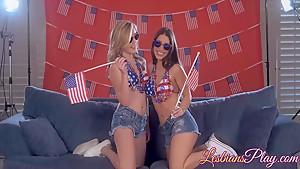 Two lesbians Serena and Sasha love kissing and pussy licking