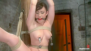Bound with her leg up and wet pussy exposedthis beautiful thing is made to cum over and over.