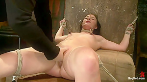 Brutal cunt flogging, nipple torment & finger fucking till she squirts w/multiple screaming orgasms!