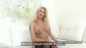 Big fake tits model fucks in casting