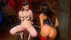 Hottest fetish, lesbian porn clip with horny pornstars Melina Mason and Gia DiMarco from Wiredpussy