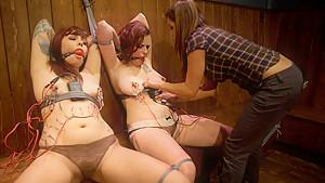 Exotic lesbian, fetish sex scene with fabulous pornstars Rozen Debowe, Francesca Le and Akira Raine from Wiredpussy