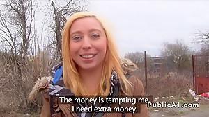Euro blonde fucks huge cock in public pov