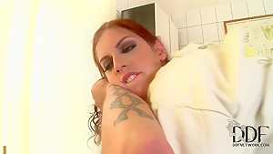 Dirty threesome scene by two friends and the curvy nurse Mira Sunset