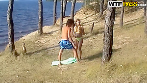 Guy bangs his hot girlfried so well outside