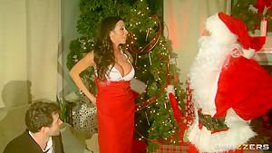 Hot busty milf Ariella Ferrera fucked hard by Santa and her husband