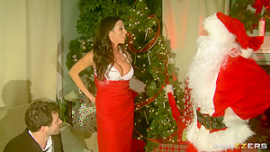 Hot busty milf Ariella Ferrera fucked hard by Santa and her husband