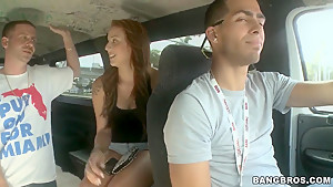 Aubrey Mae is promising the two guys a fancy fucking session in the car