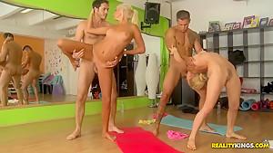 Two flexible Yoga girls get fucked
