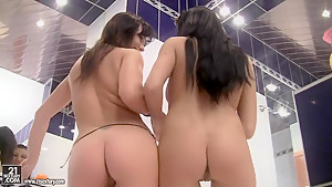 Brunettes Gapolexa and Karen got two modern dildos in the bathroom