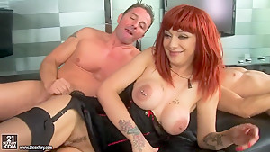 Whorish redhead Mai Bailey enjoys in threesome sex