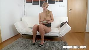 Seductive young slut Nathaly masturbates and sucks a strong dick