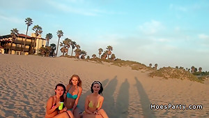 Three babes from beach to orgy party