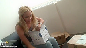Interview with beautiful blonde babe Sophie Moone at her home