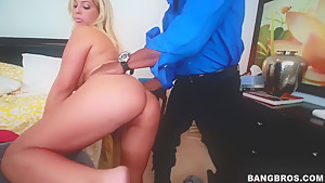 Pornstar against a black cock