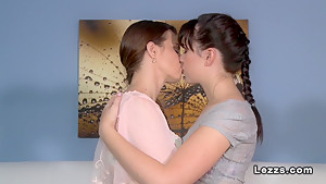 Lesbians teens oral sex and strap on fucking