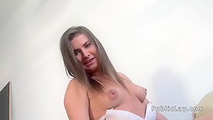Amateur cook flashing tits in public pov