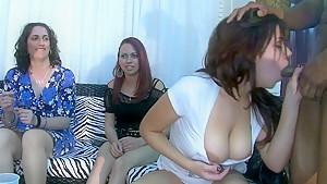 Cock sucking girls in a club