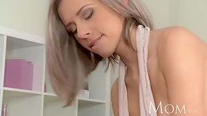 MOM Blonde milf enjoys slow blowjob before full on sex