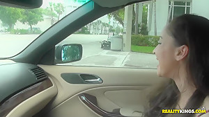 Preston Parker drives car, Michelle Heart drives his dick