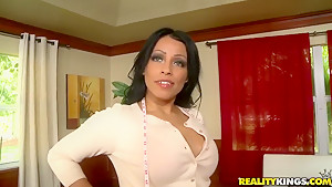 A young  fellow is surprised by a sexy MILF
