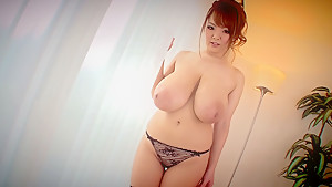 Hitomi Lets Him Fuck Her Massive Jugs