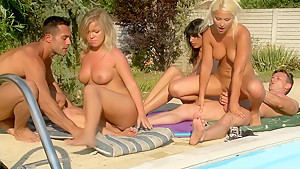 Group sex by the pool