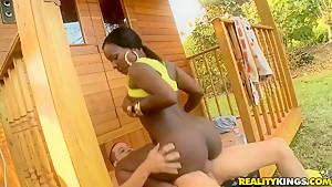 Hot ebony whore Rayna Stacxxx is sucking a hard dick outdoors