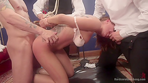 Hard body rich brat triple stuffed choke full of raging hard cock!