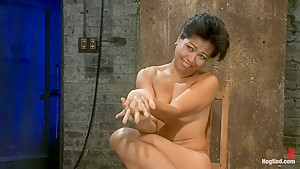 Hot Asian MILF gets suspended, suffers weight on her HIUGE nipples, and is made to cum over and over