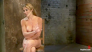 Hot Blond has her huge tits punished with bowling balls, pulled to her tip toesExtreme suffering