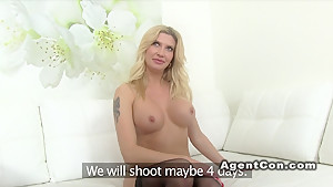 Big fake tits model fucks in casting