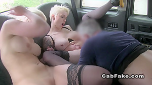 Fake taxi driver fucks two busty blondes in cab