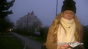 Euro blonde fucking in the park pov at night