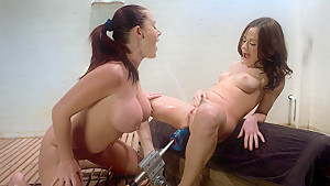 Hottest squirting, fetish sex video with incredible pornstars Sindee Jennings and Sophie Dee from Fuckingmachines