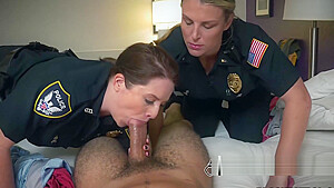 Marcus gets his big fat cock sucked and ridden by perverted milf cops