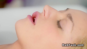 Redhead masseuse gets cunt finger fucked