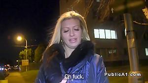 Euro big fake tits flashing in public at night