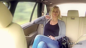 Huge tits blonde sucks big cock in fake taxi in public