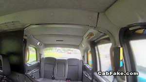 British teen flashing panties in fake taxi