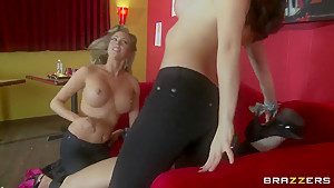 Chanel Preston and Samantha Saint caress cock