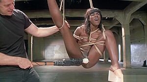 Ebony slave is vibed in suspension