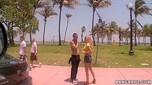 Blonde pornstar Bryn Tyler plays with her twat in the bus