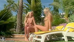 Blonde teen lesbians making love near pool