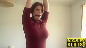 Bondaged redhead beauty Lucia Love rides a stick prick