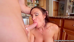 Levi Cash fucks his new girlfriend's mommy Raven LeChance at the kitchen