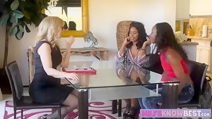 Two ebonies and a blonde milf threesome lesbian sex