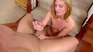 Horny pornstar Dava Foxx in incredible handjob, cumshots porn movie