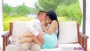 Horny hunk drills good looking girlfriend Taissia outdoors