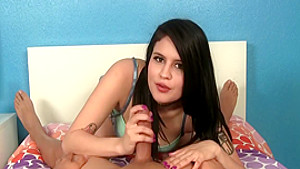 Dazzling brunette with lovely boobs Raquel Roper gives a great handjob